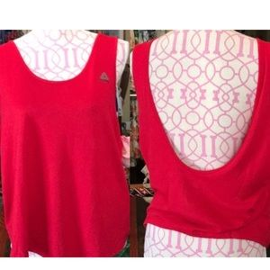 NWT Reebok Red Plunge Back Sport Top XL